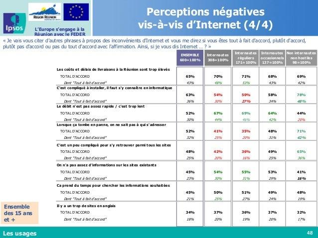 48 L'Europe s'engage à la Réunion avec le FEDER Perceptions négatives vis-à-vis d'Internet (4/4) « Je vais vous citer d'au...