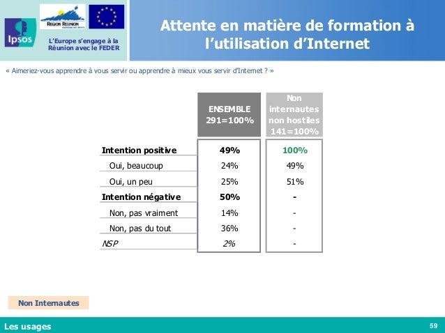 59 L'Europe s'engage à la Réunion avec le FEDER Attente en matière de formation à l'utilisation d'Internet « Aimeriez-vous...
