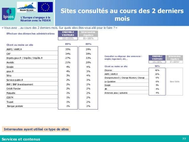 77 L'Europe s'engage à la Réunion avec le FEDER Sites consultés au cours des 2 derniers mois « Vous avez …au cours des 2 d...