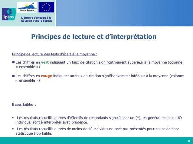 8 L'Europe s'engage à la Réunion avec le FEDER Principe de lecture des tests d'écart à la moyenne : Les chiffres en vert i...