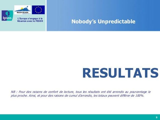 9 L'Europe s'engage à la Réunion avec le FEDER Nobody's Unpredictable RESULTATS NB : Pour des raisons de confort de lectur...