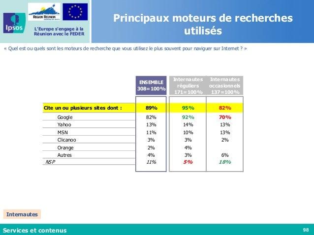 98 L'Europe s'engage à la Réunion avec le FEDER Principaux moteurs de recherches utilisés « Quel est ou quels sont les mot...