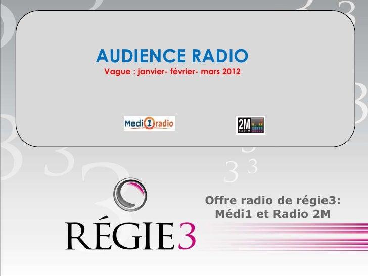 AUDIENCE RADIOVague : janvier- février- mars 2012                         Offre radio de régie3:                          ...