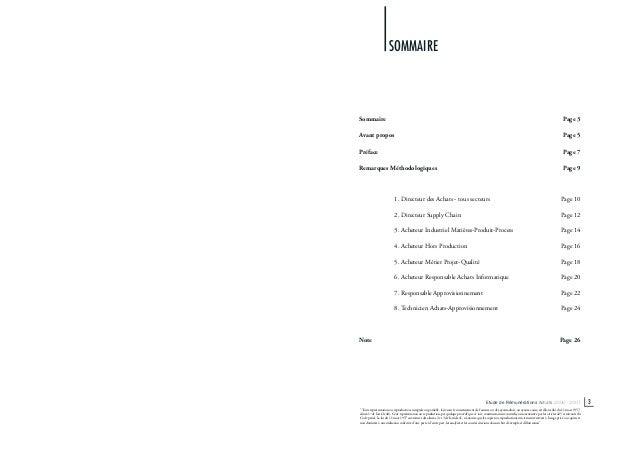 Sommaire Page 3 Avant propos Page 5 Préface Page 7 Remarques Méthodologiques Page 9 1. Directeur des Achats - tous secteur...