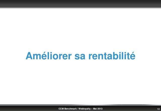 © Benchmark Group 2010 12CCM Benchmark / Webloyalty – Mai 2013Améliorer sa rentabilité