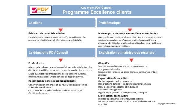Cas client FDV Conseil Programme Excellence clients Copyright FDV Conseil Fabricant de matériel sanitaire Distribue ses pr...