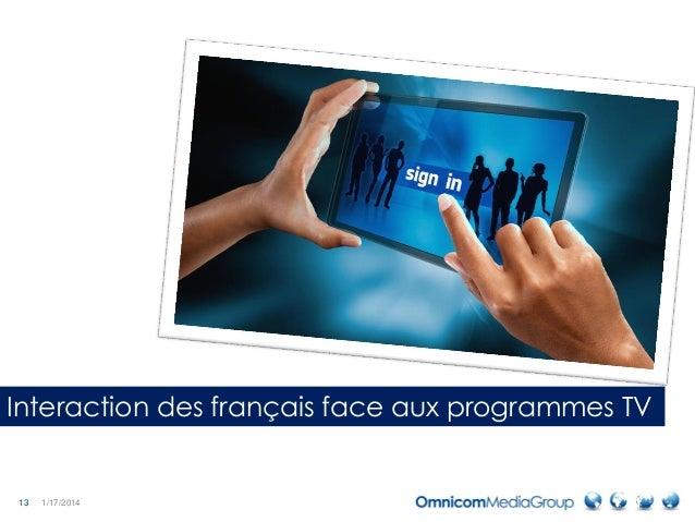 13 1/17/2014 Interaction des français face aux programmes TV
