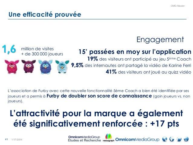 41 OMG-Master Une efficacité prouvée 1/17/2014 15' passées en moy sur l'application 19% des visiteurs ont participé au jeu...
