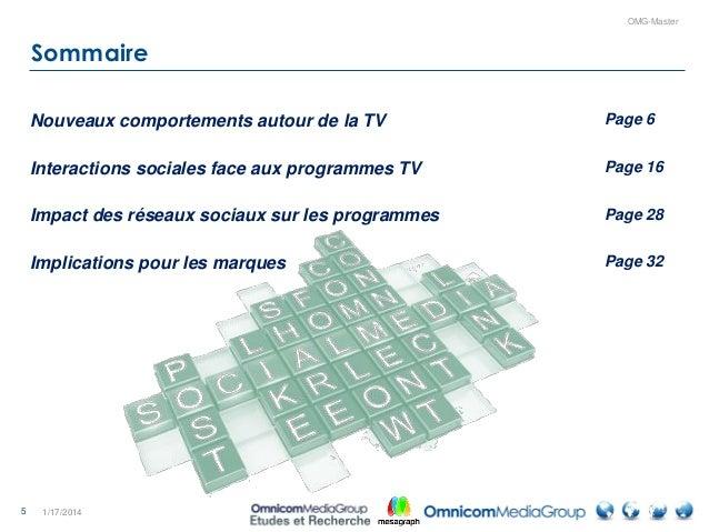 5 OMG-Master Sommaire 1/17/2014 Nouveaux comportements autour de la TV Page 6 Interactions sociales face aux programmes TV...