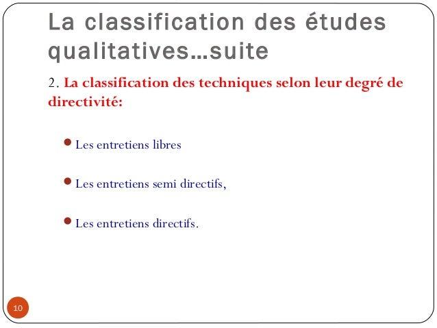 La classification des étudesqualitatives…suite2. La classification des techniques selon leur degré dedirectivité:Les entr...