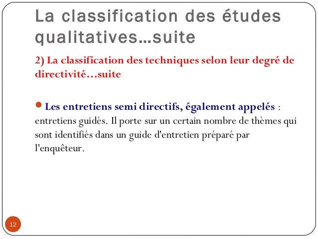 La classification des étudesqualitatives…suite2) La classification des techniques selon leur degré dedirectivité…suiteLes...