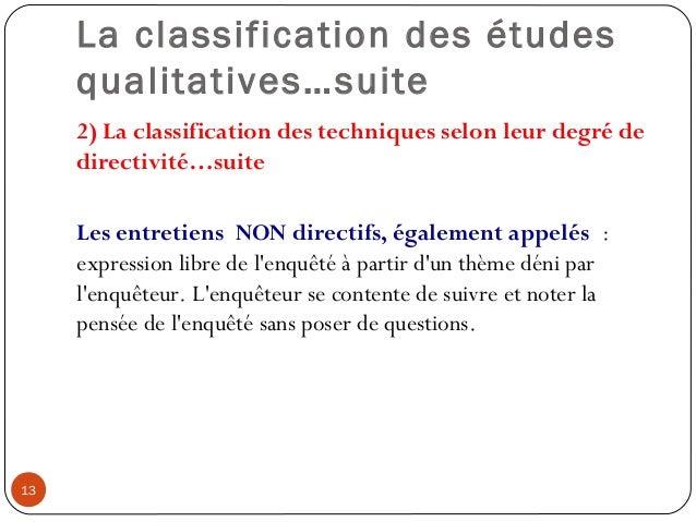 La classification des étudesqualitatives…suite2) La classification des techniques selon leur degré dedirectivité…suiteLes ...