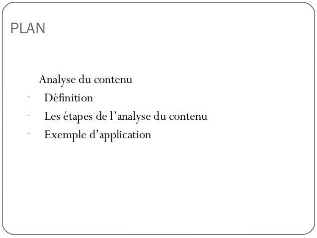 PLANAnalyse du contenu- Définition- Les étapes de l'analyse du contenu- Exemple d'application36