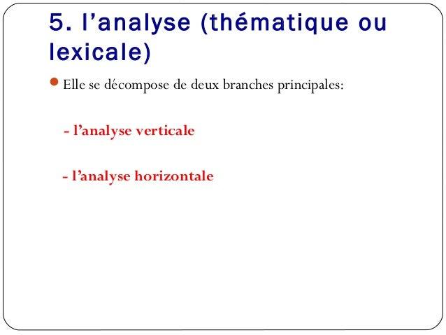 5. l'analyse (thématique oulexicale)Elle se décompose de deux branches principales:- l'analyse verticale- l'analyse horiz...