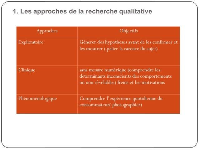 91. Les approches de la recherche qualitativeApproches ObjectifsExploratoire Générer des hypothèses avant de les confirmer...