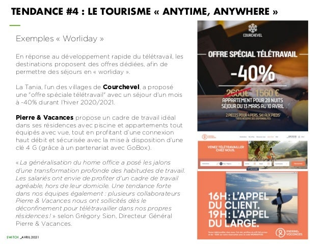 TENDANCE #4 : LE TOURISME « ANYTIME, ANYWHERE » Exemples « Worliday » En réponse au développement rapide du télétravail, l...