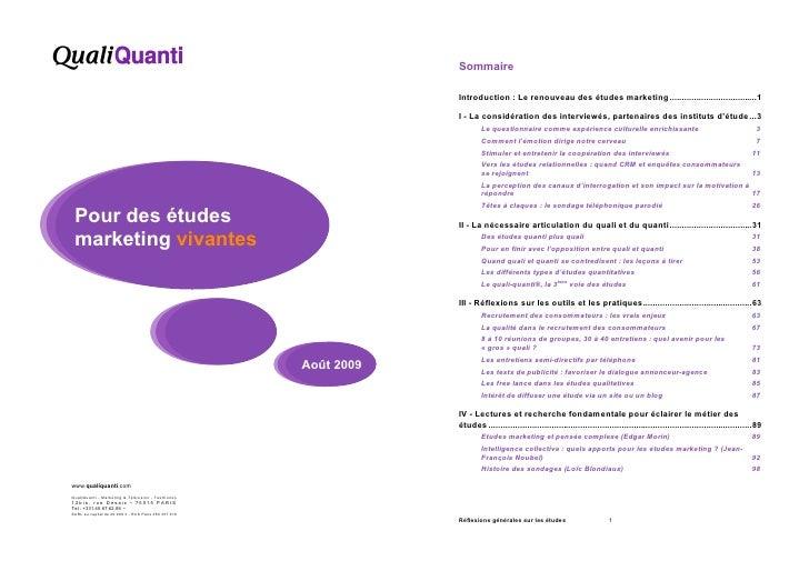 Sommaire                                                                    Introduction : Le renouveau des études marketi...