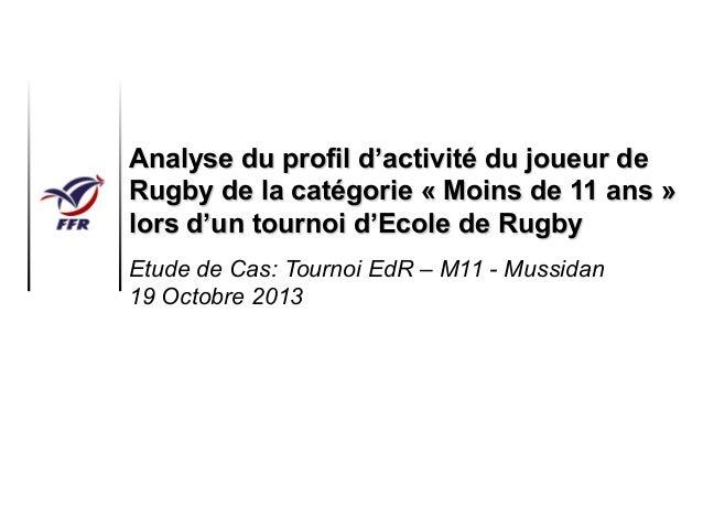 Analyse du profil d'activité du joueur de Rugby de la catégorie « Moins de 11 ans » lors d'un tournoi d'Ecole de Rugby Etu...