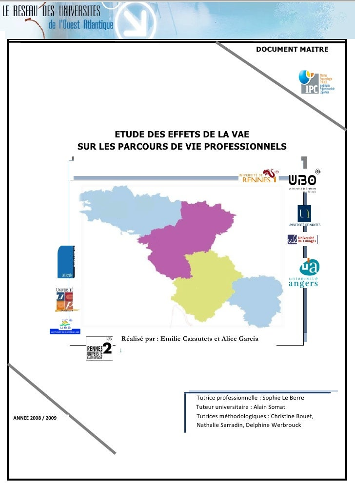 DOCUMENT MAITRE                           ETUDE DES EFFETS DE LA VAE                    SUR LES PARCOURS DE VIE PROFESSION...