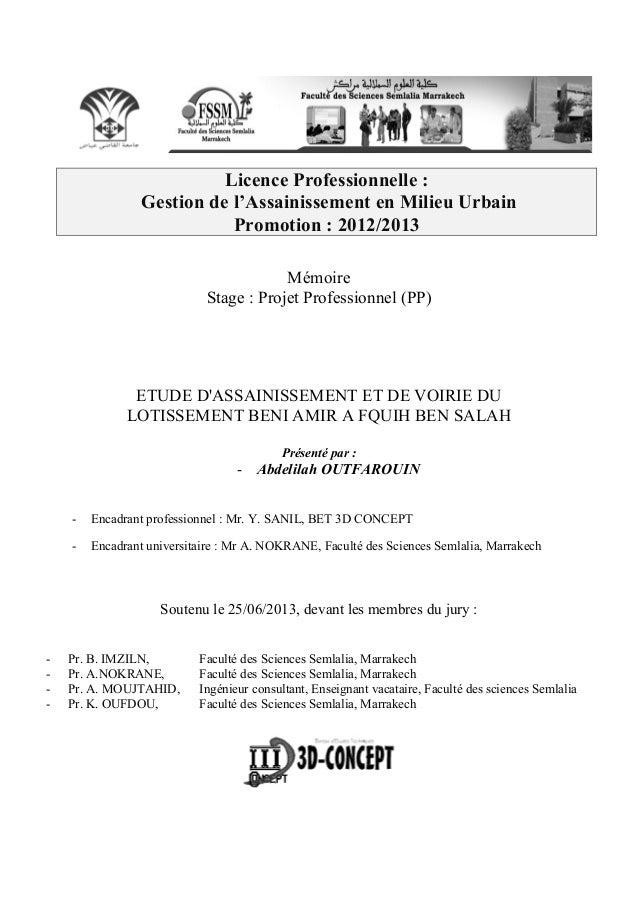 Licence Professionnelle : Gestion de l'Assainissement en Milieu Urbain Promotion : 2012/2013 Mémoire Stage : Projet Profes...