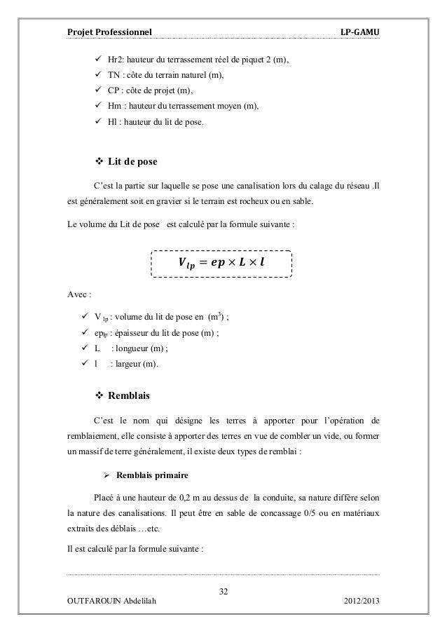 Etude de voirie et d 39 assainissement du lotissement beni - Calcul m3 gravier ...