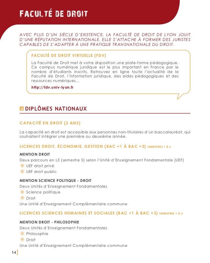 Faculte de droit       Avec plus d'un siècle d'existence, la Faculté de Droit de Lyon jouit       d'une réputation interna...
