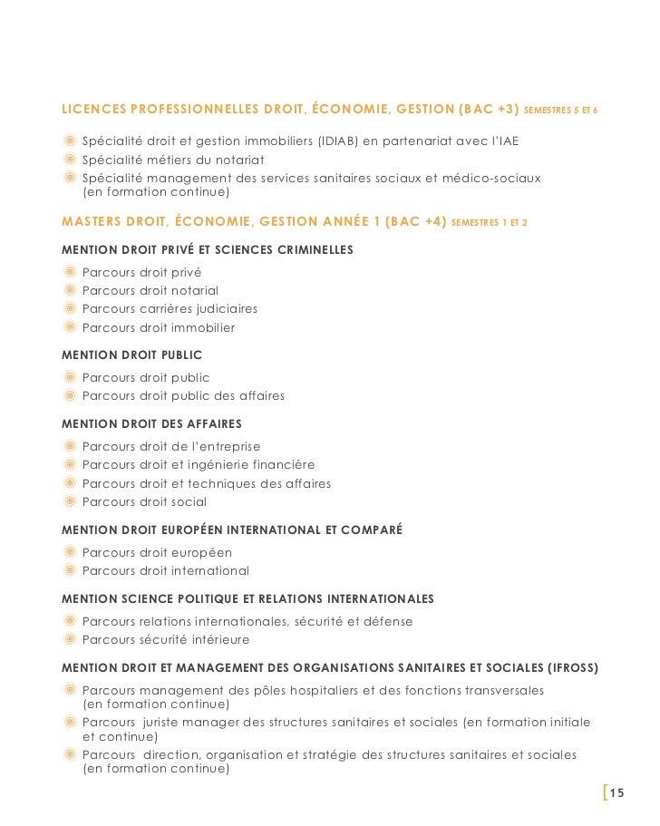Licences professionnelles Droit, Économie, Gestion (BAC +3)                     semestres 5 et 6   Spécialité droit et ges...