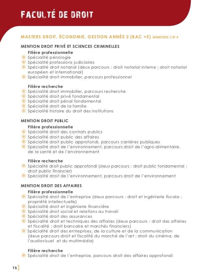 Faculte de droit       Masters Droit, Économie, Gestion année 2 (BAC +5)                   semestres 3 et 4       MENTION ...