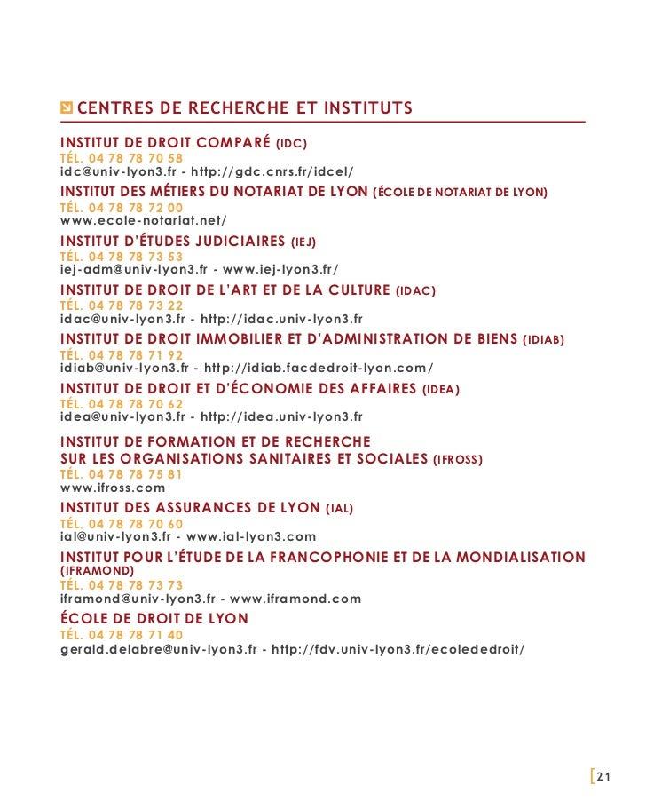 Centres de recherche et institutsInstitut de Droit Comparé (IDC)Tél. 04 78 78 70 58idc@univ-lyon3.fr - http://gdc.cnrs.fr/...