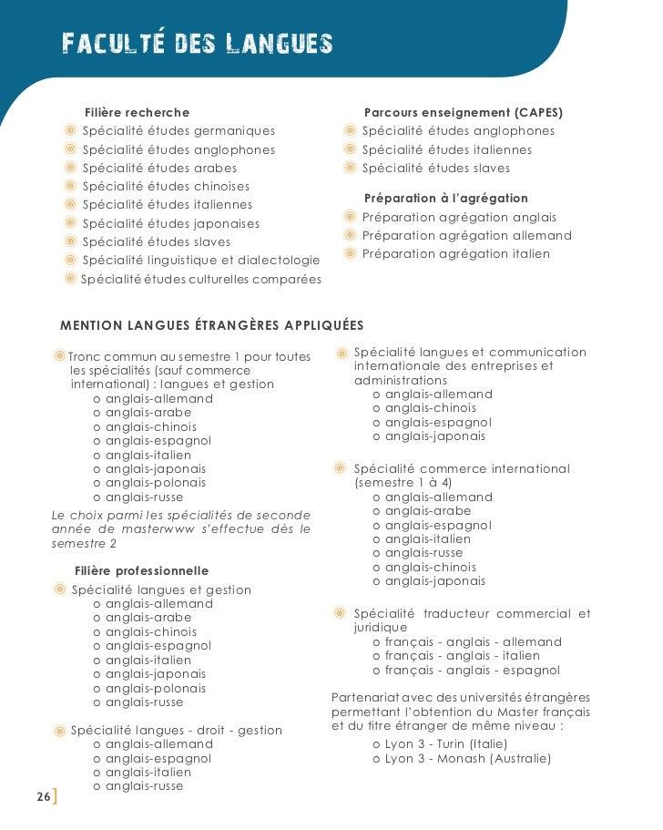 Faculte des Langues          Filière recherche                               Parcours enseignement (CAPES)          Spécia...