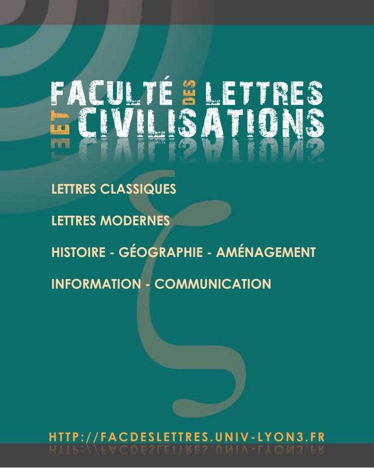 FACULTE LETTRES                     DES         CIVILISATIONST E ET         SNOITASILIVICLETTRES CLASSIQUESLETTRES MODERNE...