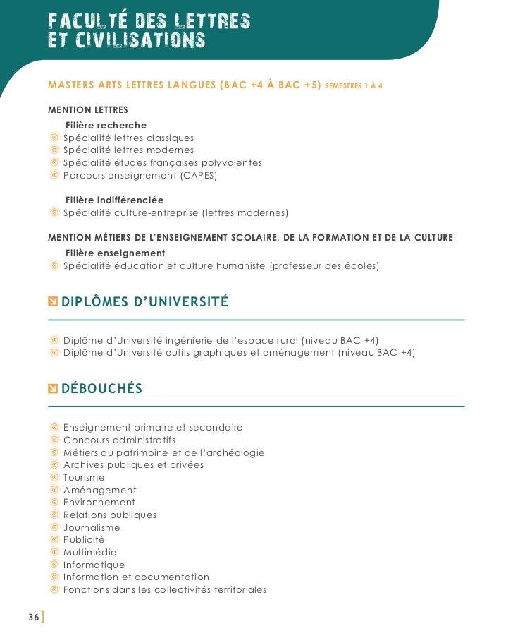 faculte des lettres       et civilisations       Masters Arts Lettres Langues (BAC +4 à BAC +5)         semestres 1 à 4   ...