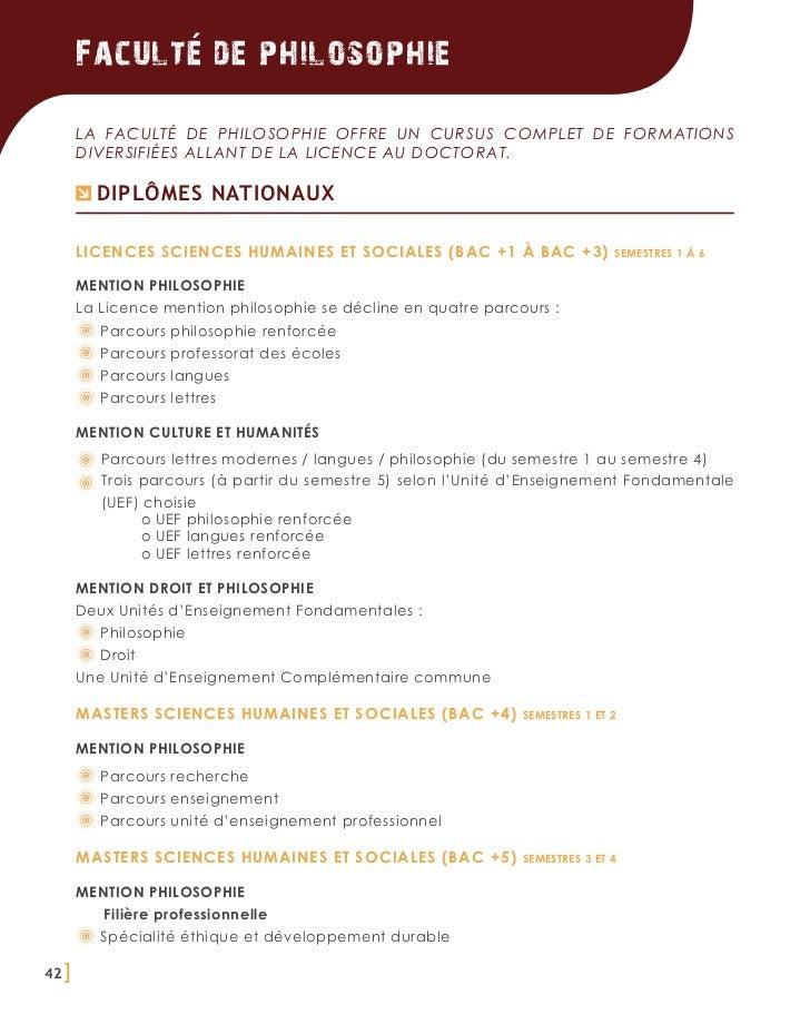 Faculte de philosophie       La Faculté de Philosophie offre un cursus complet de formations       diversifiées allant de ...