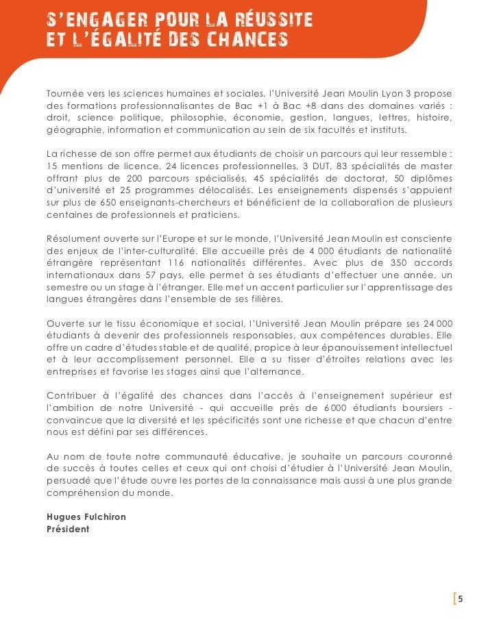 S ' ENGAGER POUR LA ReUSSITEET L ' EGALITE DES CHANCESTournée vers les sciences humaines et sociales, l'Université Jean Mo...