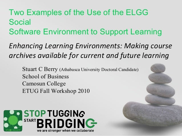 Two Examples of the Use of the ELGG Social Software Environment to Support Learning Enhancing Learning Environments: Makin...