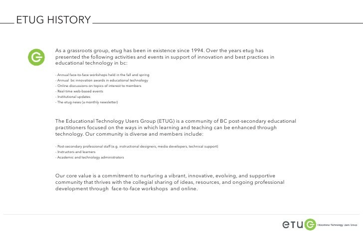 ETUG HISTORY      As a grassroots group, etug has been in existence since 1994. Over the years etug has      presented the...