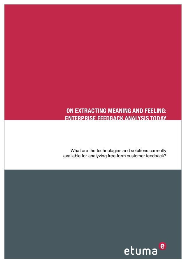 ON EXTRACTING MEANING AND FEELING:ENTERPRISE FEEDBACK ANALYSIS TODAY   What are the technologies and solutions currentlyav...