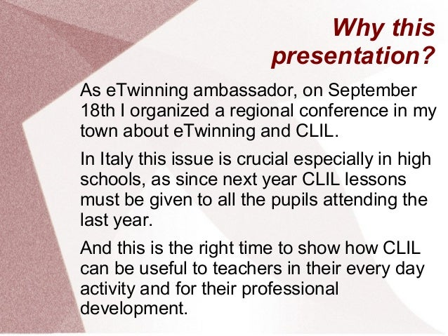 Why this presentation? As eTwinning ambassador, on September 18th I organized a regional conference in my town about eTwin...