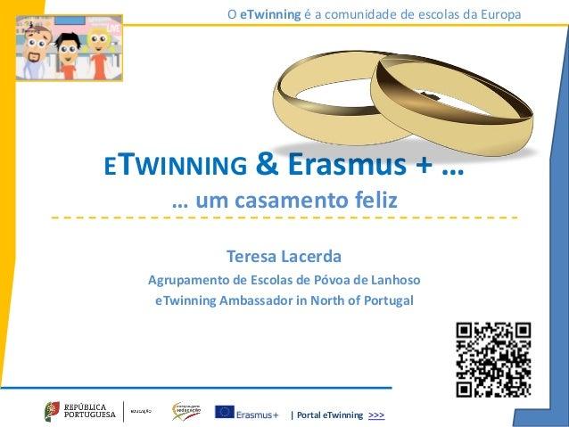 | Portal eTwinning >>> O eTwinning é a comunidade de escolas da Europa ETWINNING & Erasmus + … … um casamento feliz Teresa...