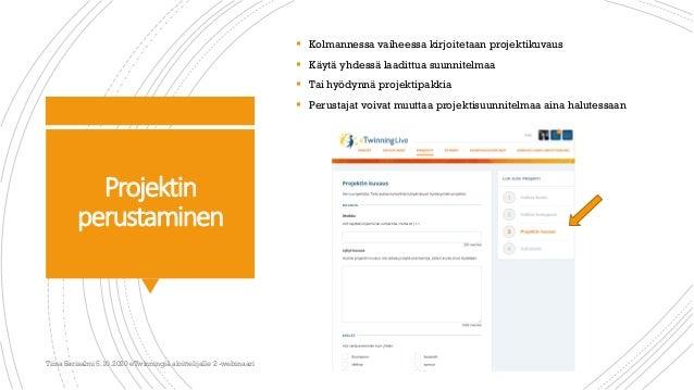 Projektin perustaminen  Kolmannessa vaiheessa kirjoitetaan projektikuvaus  Käytä yhdessä laadittua suunnitelmaa  Tai hy...
