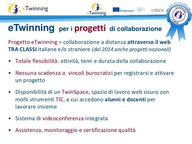 Progetto eTwinning = collaborazione a distanza attraverso il web TRA CLASSI italiane e/o straniere (dal 2014 anche progett...