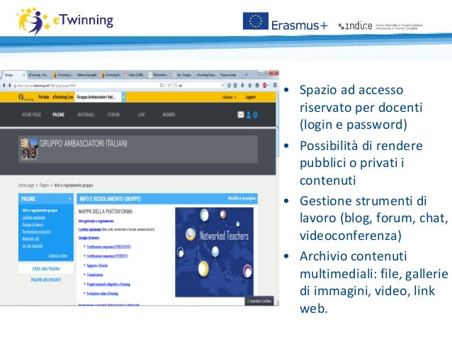 • Spazio ad accesso riservato per docenti (login e password) • Possibilità di rendere pubblici o privati i contenuti • Ges...
