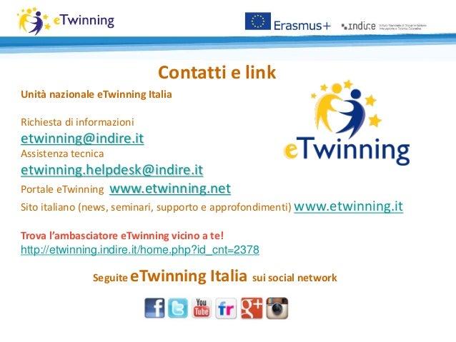 Contatti e link Seguite eTwinning Italia sui social network Unità nazionale eTwinning Italia Richiesta di informazioni etw...