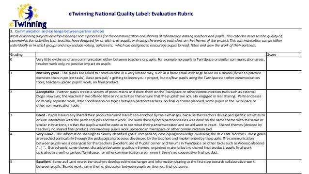 e Twinning Quality Label Evaluation Rubric Slide 3