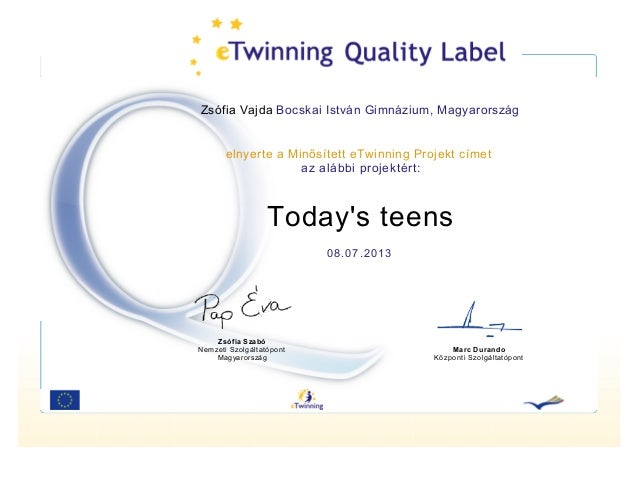 Zsófia Vajda Bocskai István Gimnázium, Magyarország  elnyerte a Minősített eTwinning Projekt címet az alábbi projektért:  ...