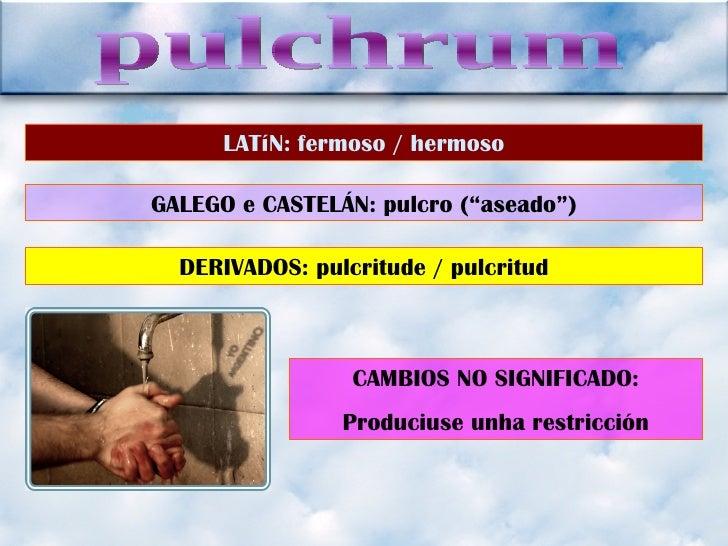 "pulchrum LATíN: fermoso / hermoso GALEGO e CASTELÁN: pulcro (""aseado"") DERIVADOS: pulcritude / pulcritud CAMBIOS NO SIGNIF..."