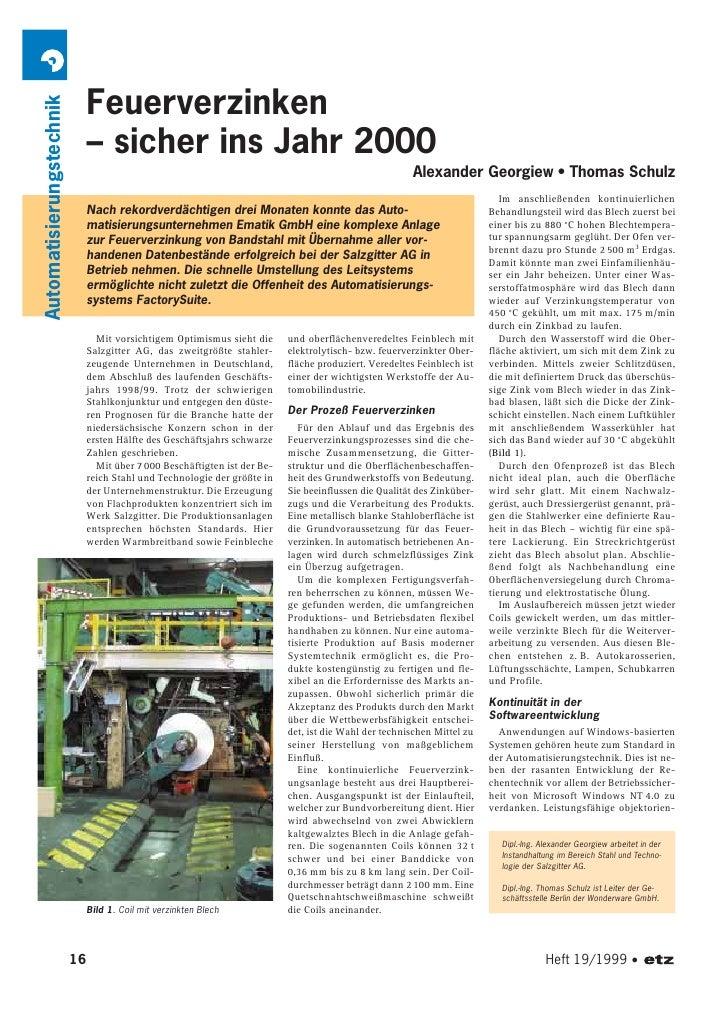 Feuerverzinken Automatisierungstechnik                                   – sicher ins Jahr 2000                           ...