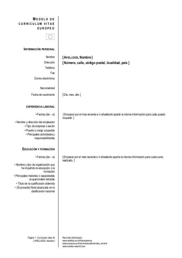 Página 1 - Curriculum vitae de [ APELLIDOS, Nombre ] Para más información: www.cedefop.eu.int/transparency www.europa.eu.i...