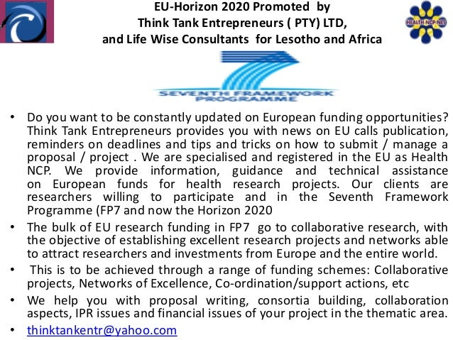 EU-Horizon 2020 Promoted by                      Think Tank Entrepreneurs ( PTY) LTD,                and Life Wise Consult...