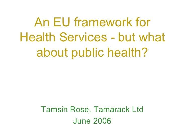 An EU framework for Health Services - but what about public health? Tamsin Rose, Tamarack Ltd June 2006